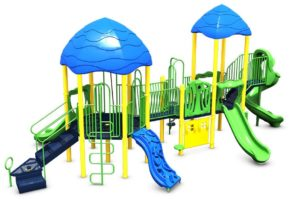 Green play set with climbing structures, games and slides